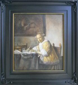 Devojka sa pismom,po Vermeru, ulje na platnu 50x50