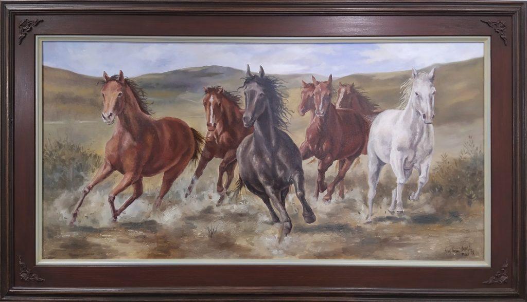 Konji u trku, ulje na platnu, 60x120