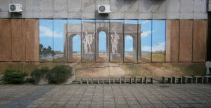 Mural u zgradi Opštine Sr. Mitrovica