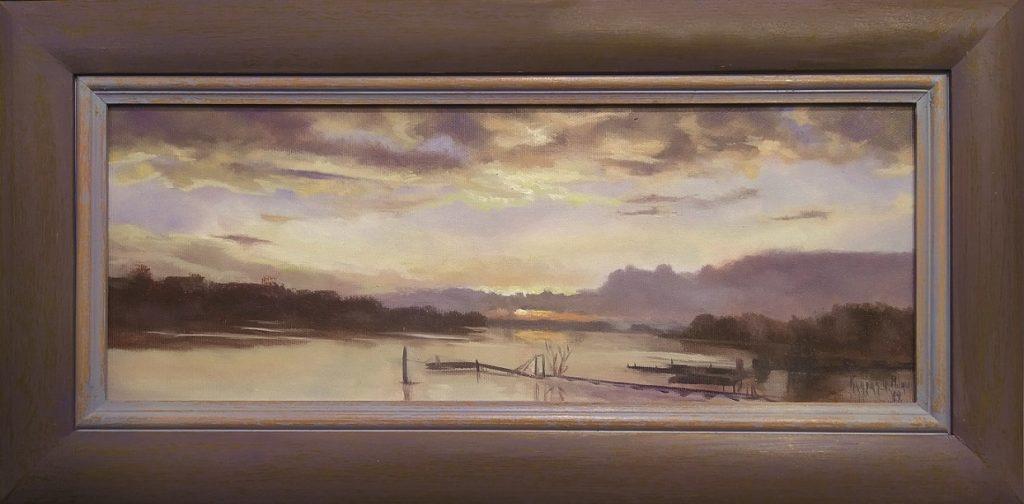 Zalazak sunca na Savi, ulje na platnu, 40x20